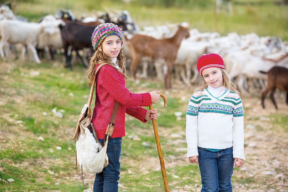 Kid girl shepherdess sisters happy with flock of sheep and wooden stick in Spain